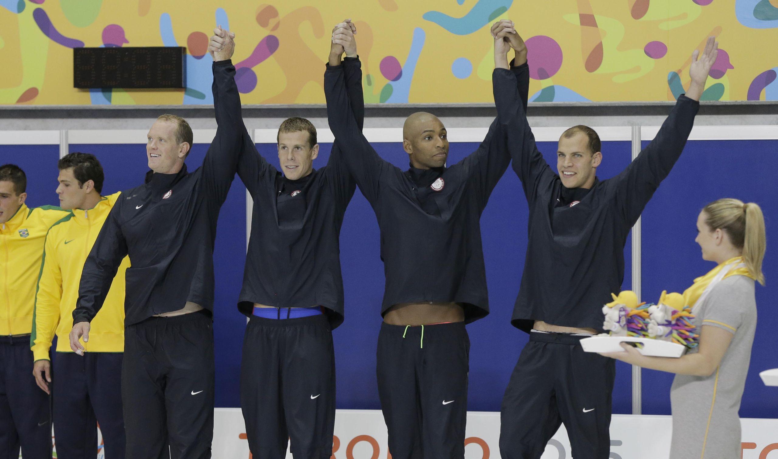 pan american games swimming day finals photo gallery jul 14 2015 toronto ontario can josh schneider darian townsend