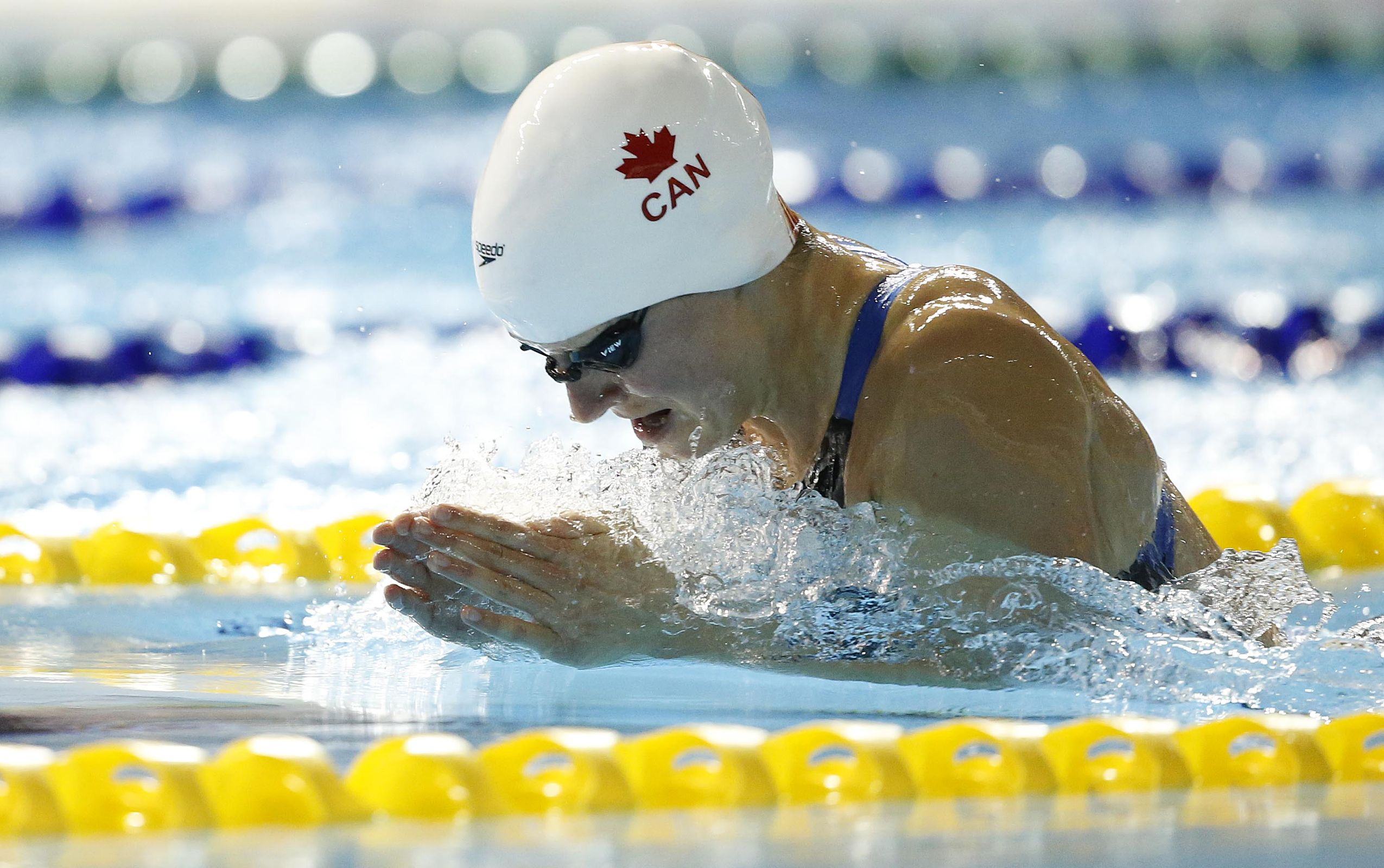 Jul 15, 2015; Toronto, Ontario, CAN; Martha McCabe of Canada in the women's 200m breaststroke preliminary heat during the 2015 Pan Am Games at Pan Am Aquatics UTS Centre and Field House. Mandatory Credit: Erich Schlegel-USA TODAY Sports