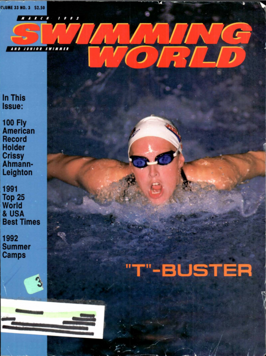 Swimming World Magazine March 1992 Issue- PDF ONLY - Cover