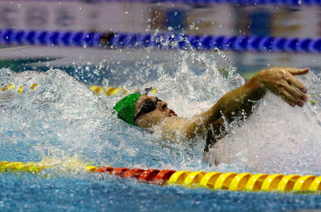 DURBAN, SOUTH AFRICA - APRIL 15: Christopher Reid during the finals session 4x100m time trial medley relay on day 6 of the SA National Aquatic Championships and Olympic Trials on April 15 , 2016 at the Kings Park Aquatic Center pool in Durban, South Africa. Photo Credit / Anesh Debiky/Swim SA