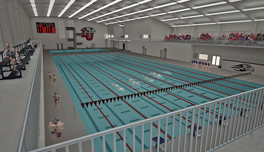 Liberty University Building 50 Meter Pool With Full Diving Tower Separate Diving Well