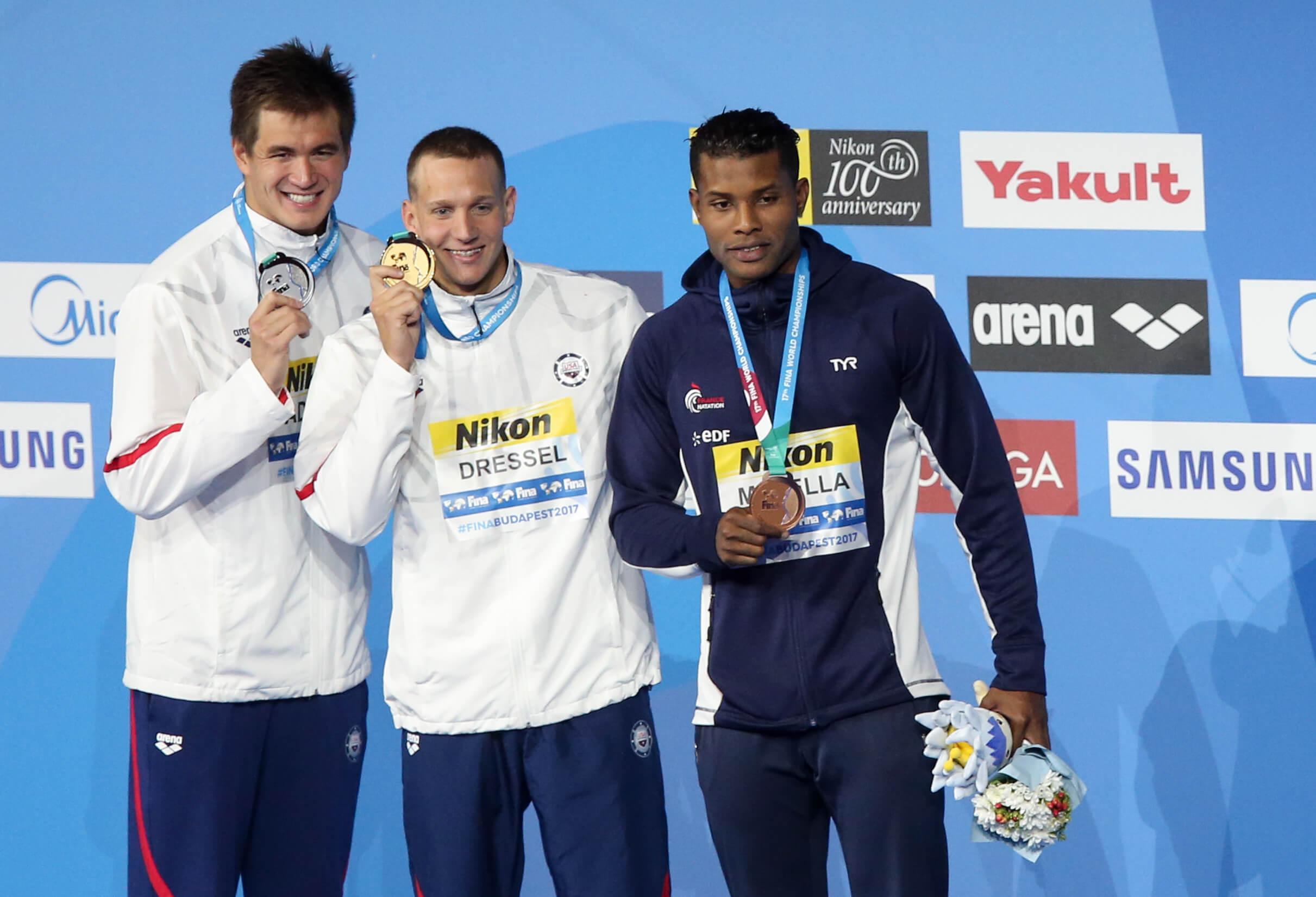 Adrian-САЩ-Dressel-САЩ-Метела-FRA-2-медали на 2017 г. свята шампиони