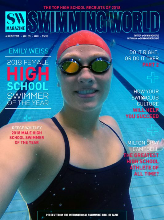 Swimming World Magazine August 2018 Issue--PDF ONLY - Cover