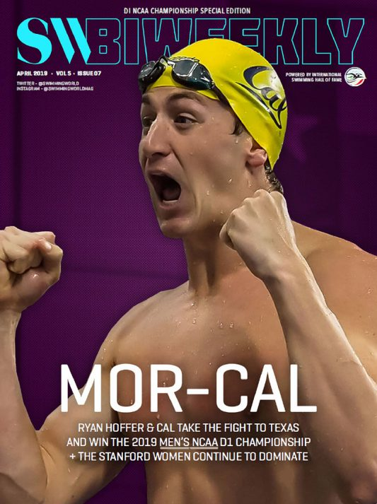 Swimming World Biweekly Mor-Cal: Ryan Hoffer & Cal with Dominant Win at the 2019 Men's NCAA D1 Championship - Cover