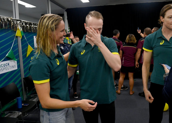 Matt Wilson / Bronte Campbell, Olympic Team Announcement, 2021 Australian Swimming Trials, SA Aquatic & Leisure Centre, June 12-17 2021. Photo by Delly Carr / SAL. Pic credit is mandatory for complimentary editorial usage. I thank you in advance.