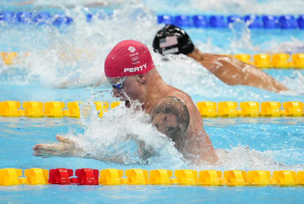 Jul 25, 2021; Tokyo, Japan; Adam Peaty (GBR) during the men's 100m breaststroke semifinals during the Tokyo 2020 Olympic Summer Games at Tokyo Aquatics Centre. Mandatory Credit: Rob Schumacher-USA TODAY Network