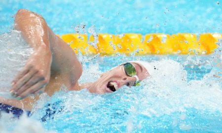Jul 24, 2021; Tokyo, Japan; Allison Schmitt (USA) during the women's 4x100m freestyle relay heats during the Tokyo 2020 Olympic Summer Games at Tokyo Aquatics Centre. Mandatory Credit: Robert Hanashiro-USA TODAY Network