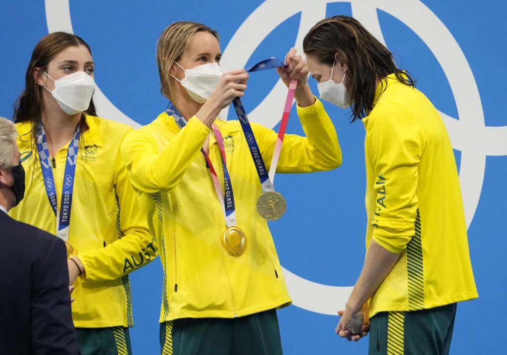 olympics, Jul 25, 2021; Tokyo, Japan; Team Australia members Bronte Campbell, Meg Harris, Emma McKeon and Cate Campbell celebrate their gold medal during the medals ceremony for the women's 4x100m freestyle relay during the Tokyo 2020 Olympic Summer Games at Tokyo Aquatics Centre. Mandatory Credit: Rob Schumacher-USA TODAY Network