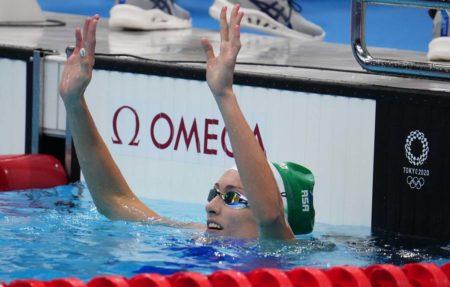 Olympics, Jul 25, 2021; Tokyo, Japan; Tatjana Schoenmaker (RSA) reacts after the women's 100m breaststroke heats during the Tokyo 2020 Olympic Summer Games at Tokyo Aquatics Centre. Mandatory Credit: Robert Hanashiro-USA TODAY Sports