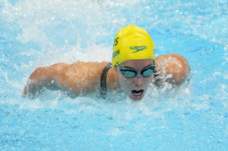 Jul 24, 2021; Tokyo, Japan; Emma McKeon (AUS) during the women's 100m butterfly heats during the Tokyo 2020 Olympic Summer Games at Tokyo Aquatics Centre. Mandatory Credit: Rob Schumacher-USA TODAY Network