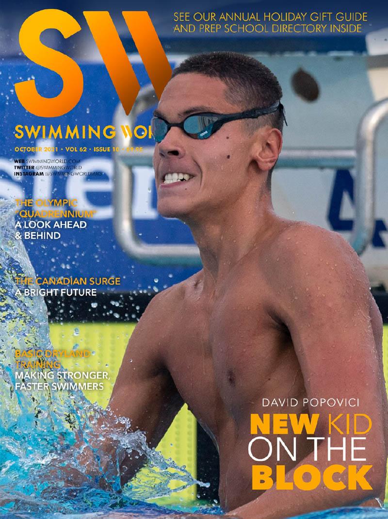 Swimming World October 2021 - David Popovich - New Boy on the Block - Cover