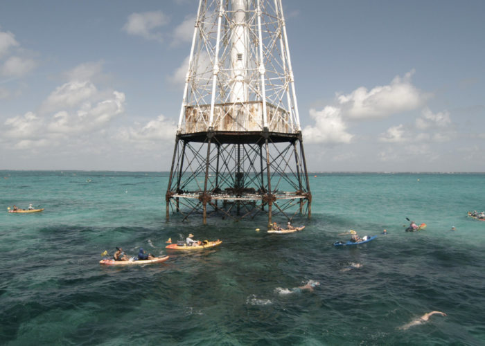 Competitors in the Swim for Alligator Lighthouse, an open-water, long-distance event, round the Florida Keys lighthouse and head to shore Saturday, Sept. 11, 2021, near Islamorada, Fla. The event began in 2013 to help raise awareness about preserving the almost 150-year-old lighthouse as well as five other lighthouses off the Keys. This year's contest attracted 461 swimmers. FOR EDITORIAL USE ONLY (Steve Panariello/Florida Keys News Bureau/HO)